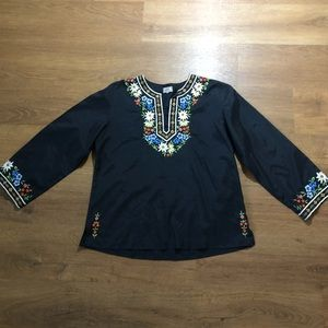 Vintage Tramo Switzerland Boho Embroidered Blouse